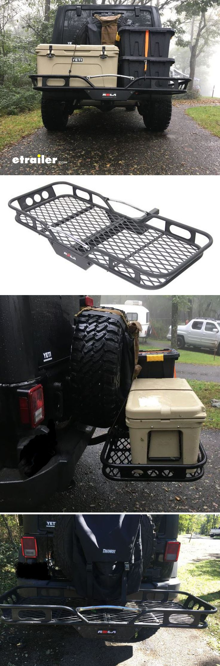 "Tired of throwing gear on the roof rack struggling to get it down and worring about clearance issues or being top heavy? (every Jeepers off-roading nightmare). You need a rack with low center of gravity, that won't affect ground clearance and most importantly fits your 35"" spare. Rola hitch rack is the answer!"