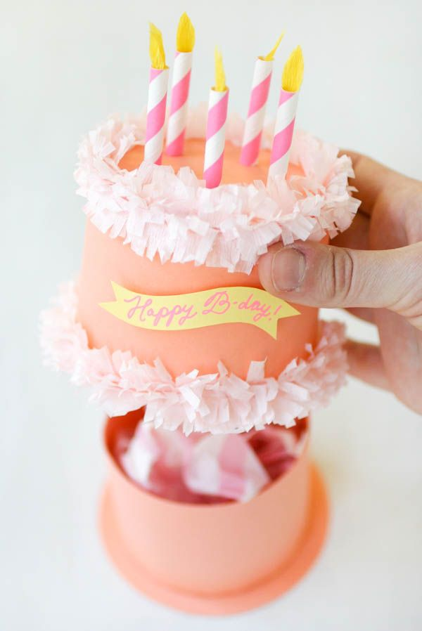 Paper Birthday Cake Box | Oh Happy Day!. Click on link for detailed tutorial. http://ohhappyday.com/2015/05/paper-birthday-cake-box/