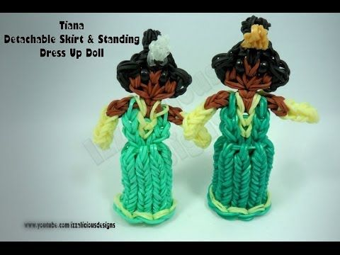 Rainbow Loom Princess TIANA Figure - Detachable Skirt & Standing Dress Up Doll. Designed and loomed by Kate Schultz of Izzalicious Designs. Click photo for YouTube tutorial. 04/23/14.