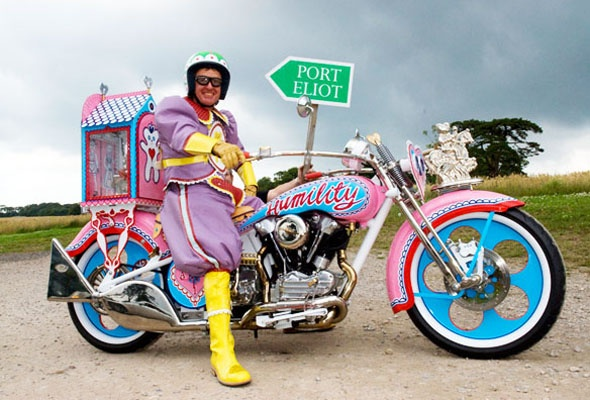 Grayson Perry - his childhood teddy - Alan Measles rides pillion in his personal shrine. Tomb of the Unknown Craftsman exhibition, The British Museum 2011