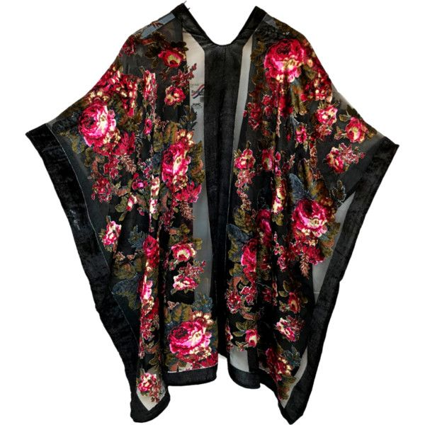 Velvet Burnout Kimono Cape Jacket Red Floral (1,740 EGP) ❤ liked on Polyvore featuring outerwear, jackets, floral kimono jacket, floral jacket, red cape coat, red kimono jacket and floral kimono