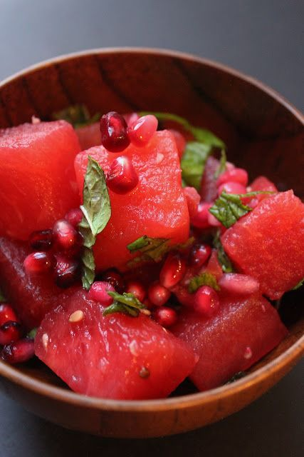 Watermelon, pomegranate and basil salad sounds healthy and refreshing.