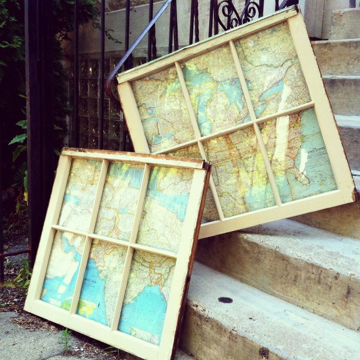 repurpose an old window - cool way to display a map