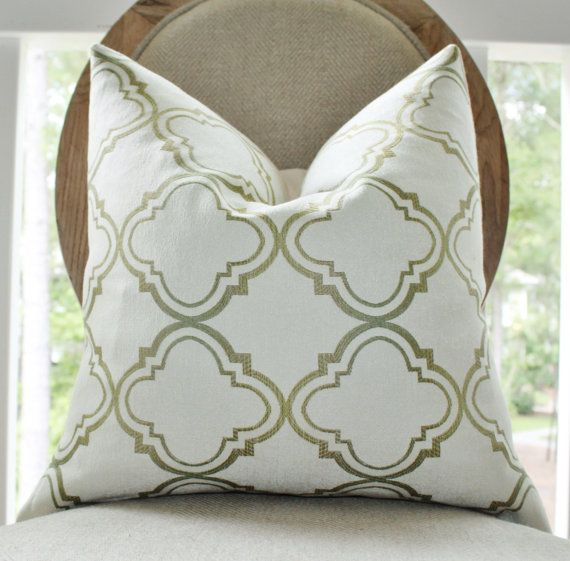 Designer Green Pillow - Ivory Olive Green Cream Moroccan Geometric Pillow Cover - Quatrefoil ...