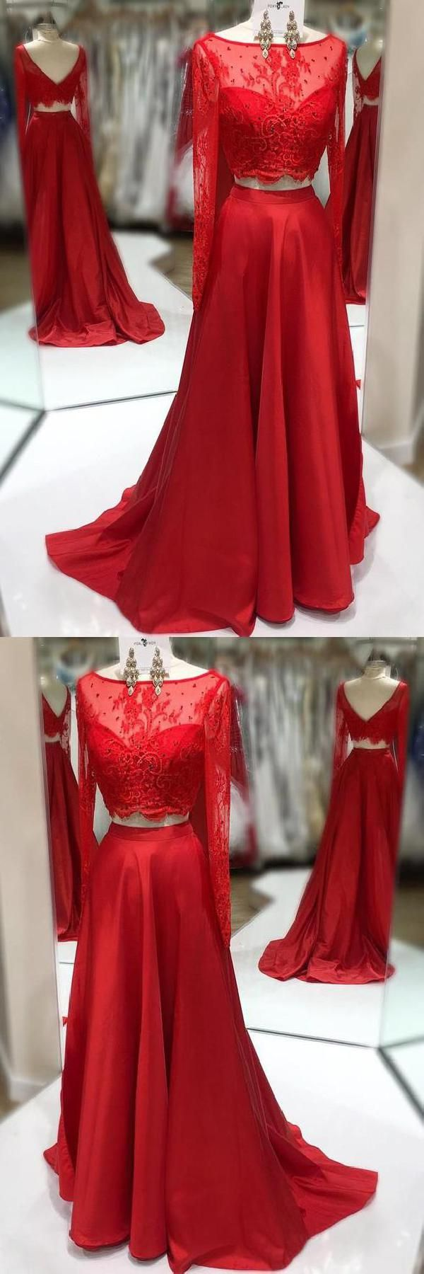 Outlet luscious two pieces party dresses lace red prom dresses