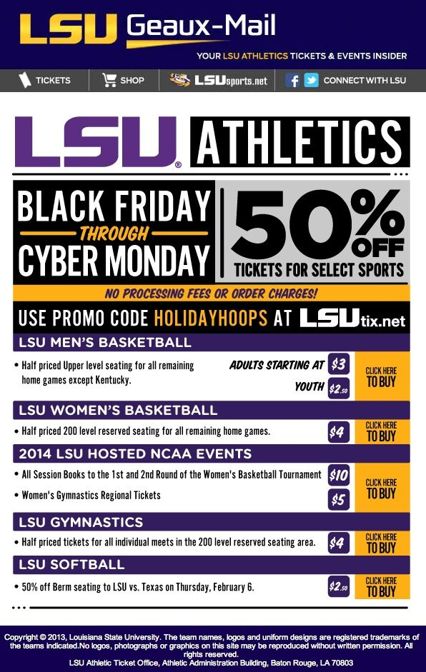 LSU - promo code for 50% off tickets for select sports