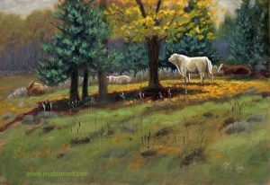 """Sniffing Bull -oil painting 10x15"""" by Mia Lane"""