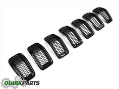 2014-2015 Jeep Cherokee FRONT GLOSS BLACK GRILL GRILLE INSERTS SET OEM NEW MOPAR in Grilles | eBay