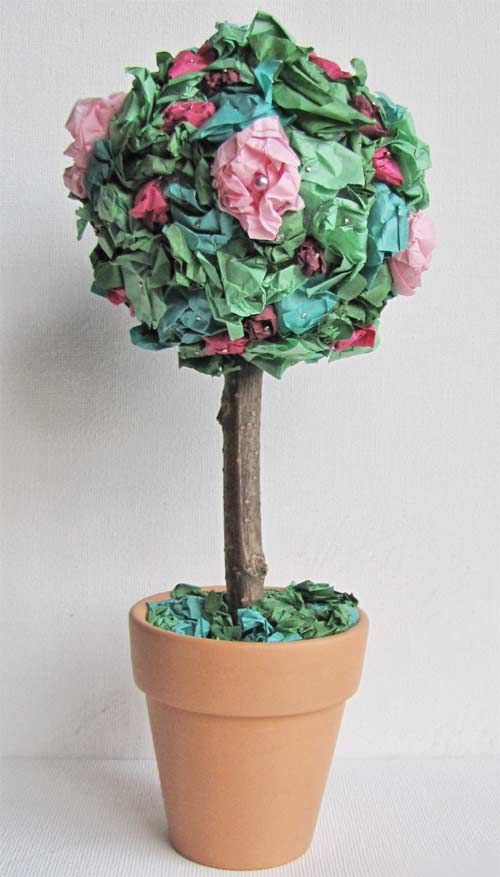 Very easy to make.  you'll need tissue papers different shades, Styrofoam ball, a cube of floral foam, mini clay pot, a stick and some straight pins. The kids loved to work on that project since it was really easy and the final product so beautiful. we made it for Mother's Day!