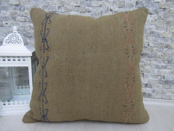 Very Old Turkish Nomadic Pale Color Pillow 20 x 20 Bohemian Sofa Pillow Ethnic Pillow