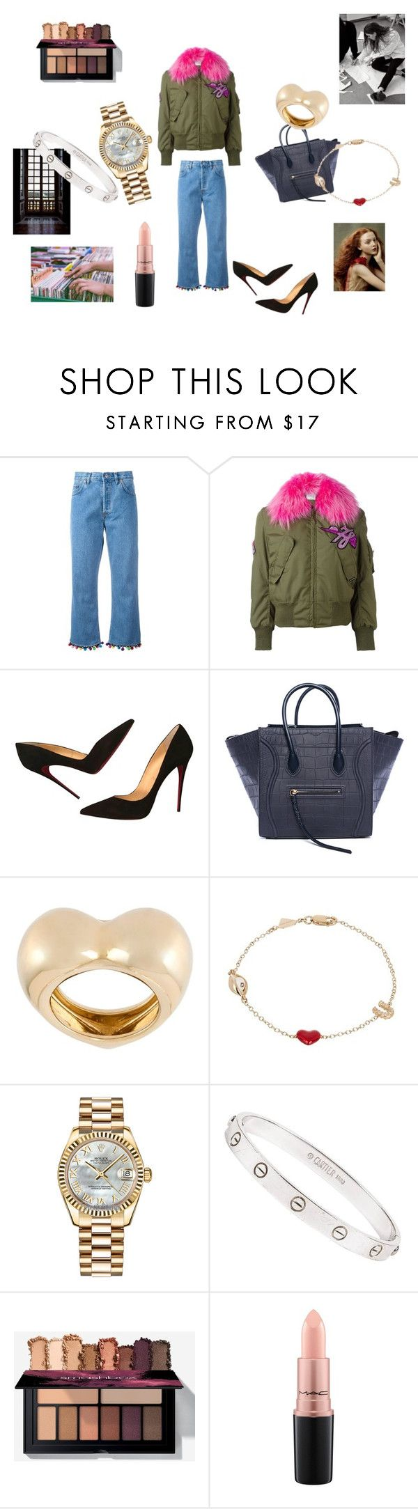"""""""Homey"""" by maria-chamourlidou ❤ liked on Polyvore featuring Forte Couture, Christian Louboutin, CÉLINE, Alison Lou, Rolex, Cartier and MAC Cosmetics"""