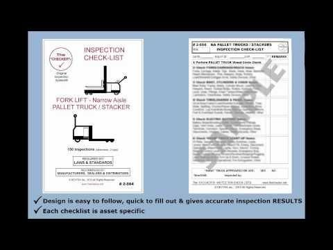 Forklift Inspection Checklist Narrow Aisle Pallet truck & Stacker #2-004 The Checker http://hubs.ly/y09VKv0 @youtube