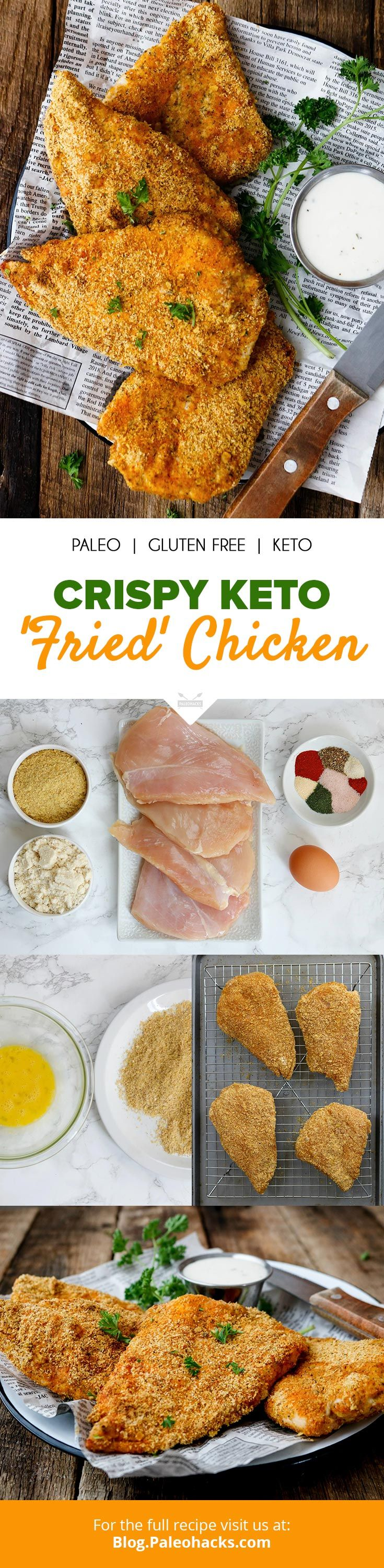 """Skip the carbs, and bite into this crispy, keto-approved """"fried"""" chicken! Get the full recipe here: http://paleo.co/ketofriedchicken"""
