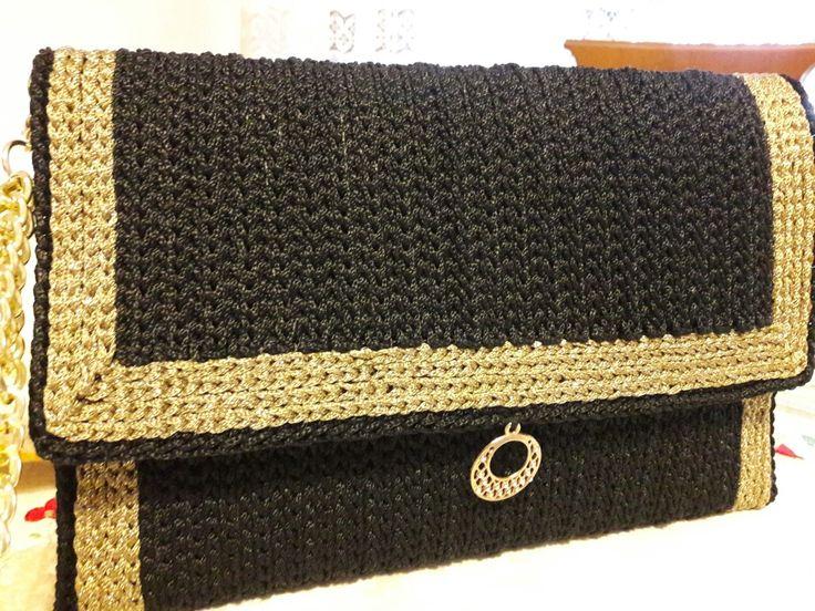 Pochette au rete nera cordino swan nero e lamè