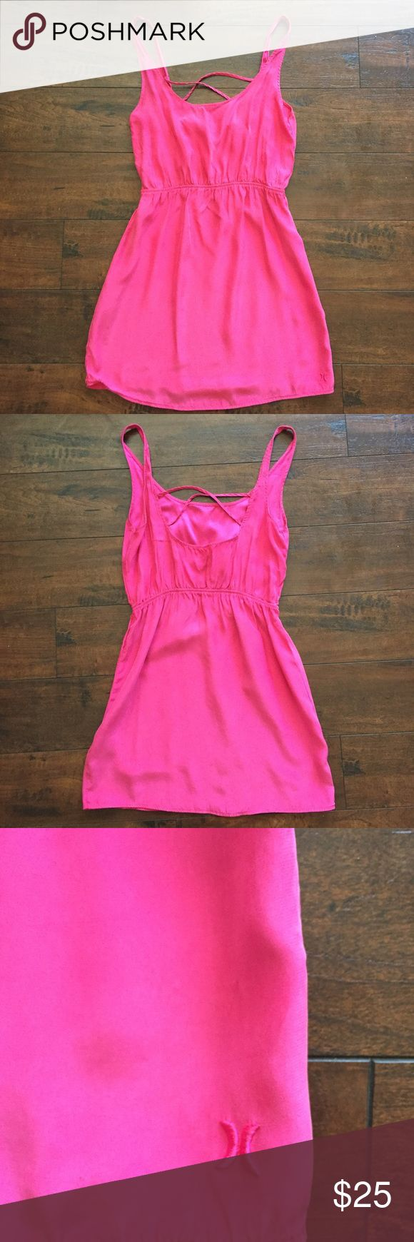 "Hurley hot pink SILK mini dress Hurley hot pink mini dress Size Medium 60% SILK 40% cupro  VERY SOFT!!!! Was very expensive due to being made out of silk Only worn a few times EXCELLENT condition Beautiful, vibrant color Criss cross pattern on the back  Small embroidered ""H"" on the bottom corner    ✅Make an offer ✅Bundle and save  🛍Happy Poshing! Hurley Dresses Mini"