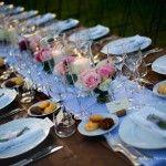 lucca wedding villa pink roses and pillar candles