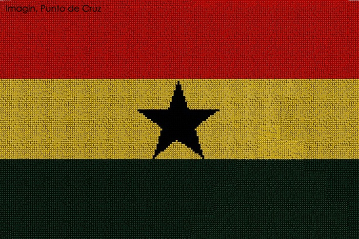 Bandera de Ghana  Tela: Aida-14  Medidas: 35 x 23 cm  DMC, 4 colores