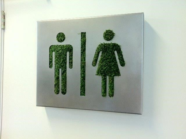 superline toiletsign with moss supplied by koberg