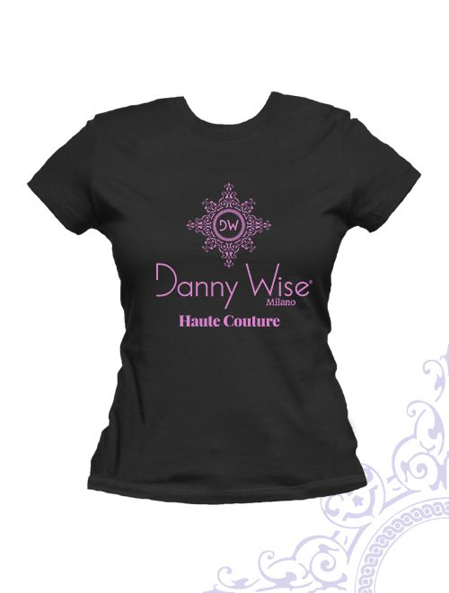 DANNY WISE T. Shirt  Woman Slim  100% Cotton  Black Logo Geranium pink  stamped by Hand in Italy, in DANNY WISE boutique Caltanissetta .