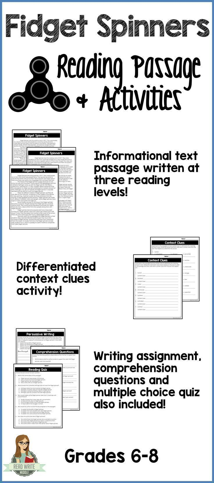 One page reading passage about fidget spinners written at three different reading levels. Great practice for informational text. Differentiated context clues activity. Writing assignment and comprehension questions.