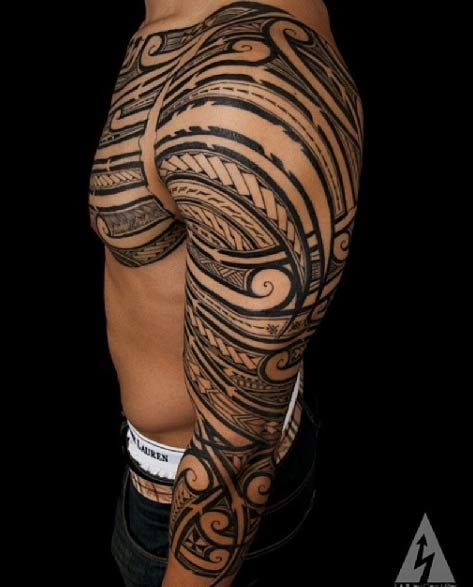 polynesian-tribal-sleeve-tattoo.jpg (473×587)
