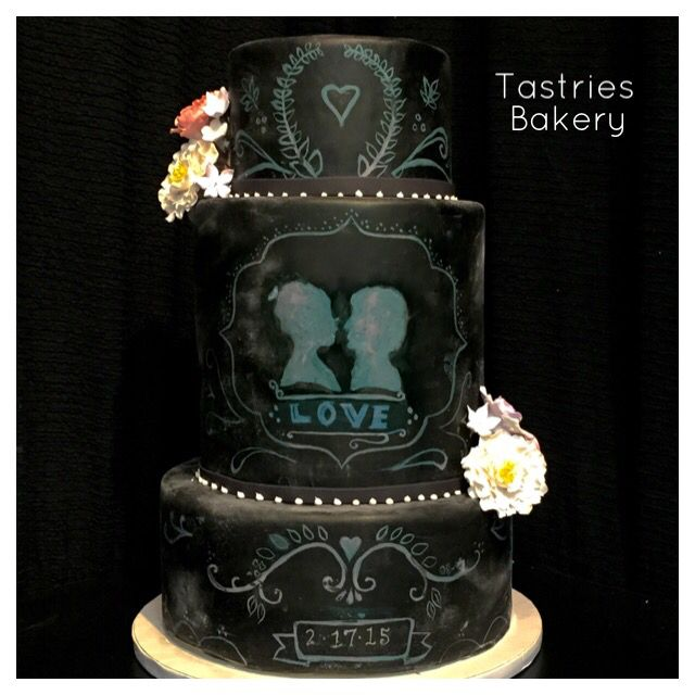 Three Tiered Chalkboard Inspired Wedding Cake Filled With Love Tastries Bakery Bakersfield CA