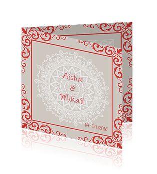 Islamitische trouwkaart met rode sierlijke ornamenten voor een bruiloft.