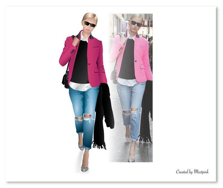 Comparison @it_girls pink & @instalmanya outfit. #fashionalert #fashionillustration #fashion #pinkblazer #torn #jeans #strips #heels #mystyle #vector #drawing #art