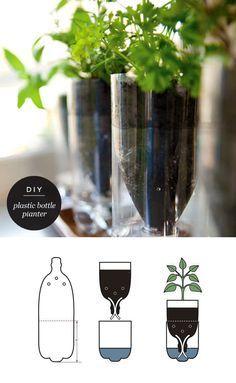 Aus einer Plastikflasche sich selbst mit Wasser versorgende Blumentöpfe machen. Wow.