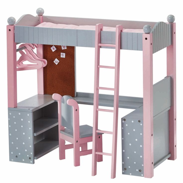 Teamson Oliviau0027s Little World College Dorm Double Bunk Desk 18 Inch Doll  Furniture In Grey