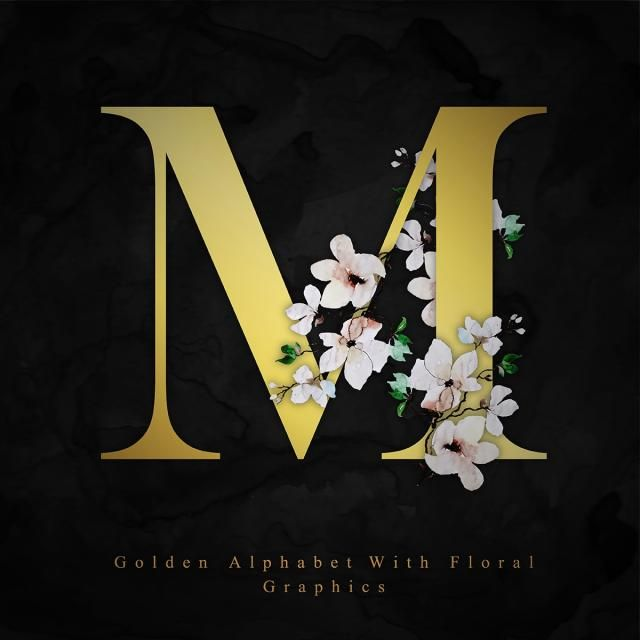 Golden Alphabet Letter M Watercolor Floral Background M Clipart Watercolor Color Png And Vector With Transparent Background For Free Download Lettering Alphabet Floral Background Floral Watercolor