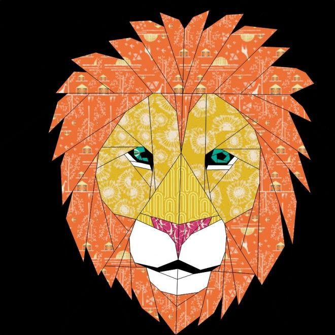 Lion- 24 Inch Paper Pieced Pattern