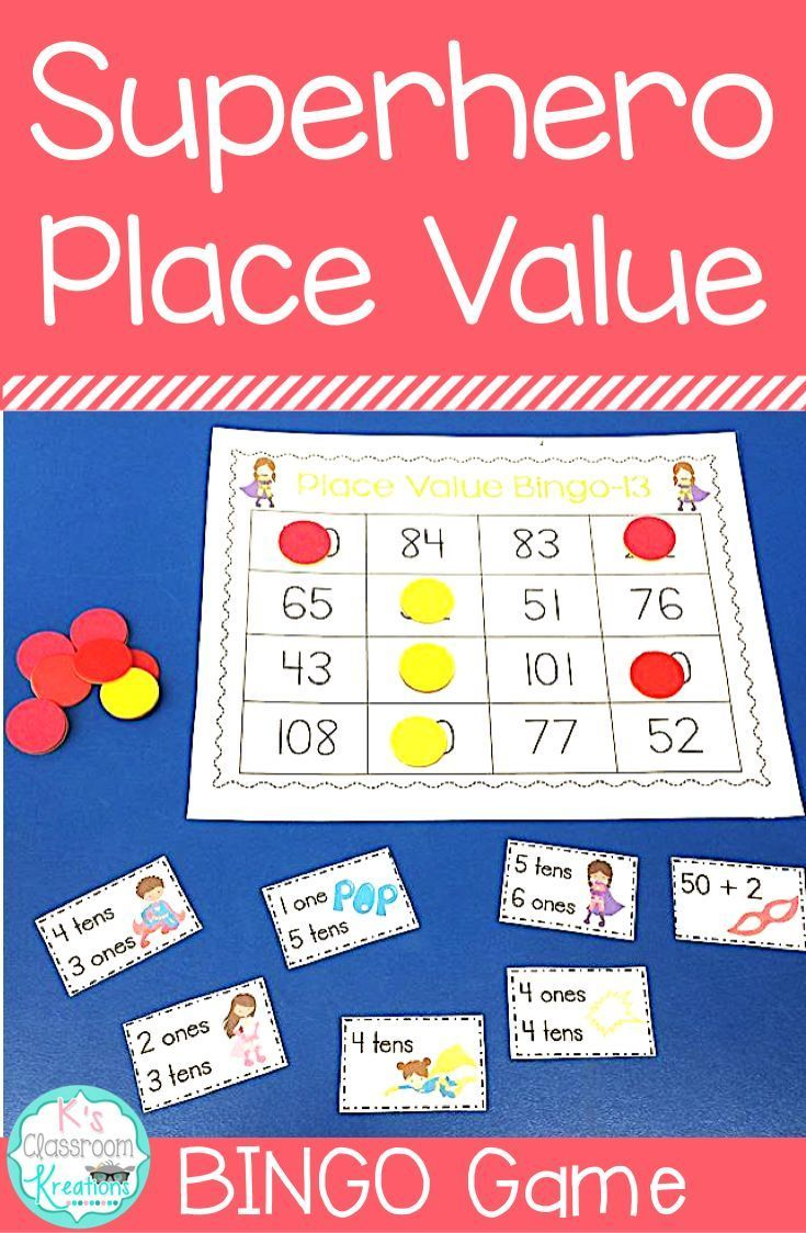 Superheroes always make math more fun! Practice tens and ones in your first grade classroom with this superhero bingo game. It is a great way to review place value skills up to 120 while having a blast! Numbers are called out in expanded form or by sharin