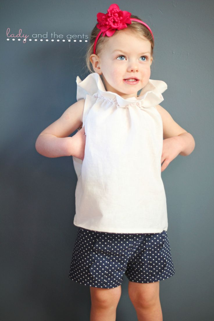 Sewing pattern for shirt and shorts available on this site. Girls sewing pattern.
