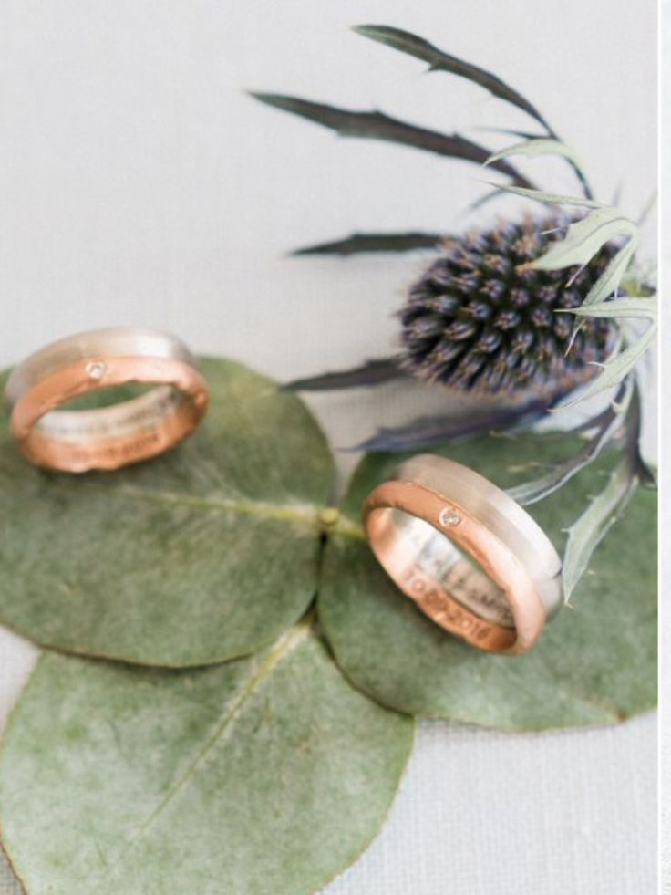 Matching gents bands in platinum and rose gold #samesexweddings