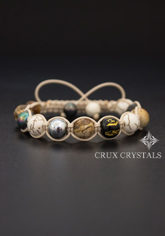 Women's Shamballa Bracelet Peanut Butter Natural by CruxCrystals