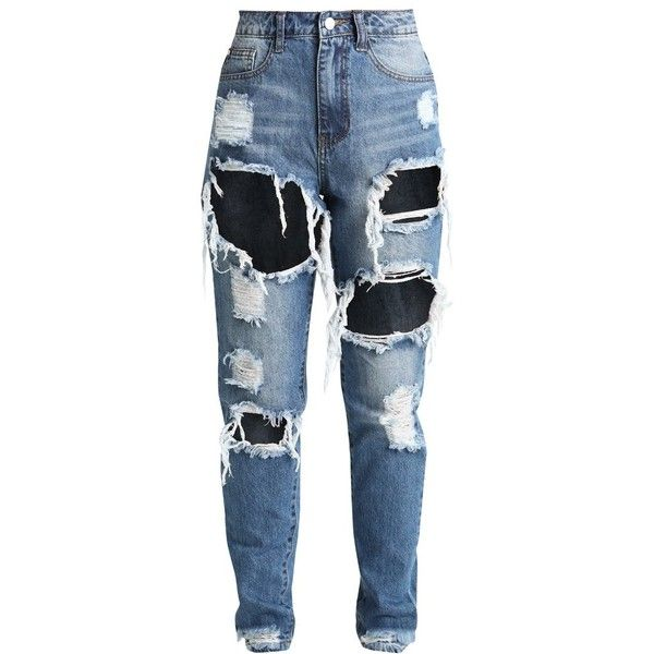 Missguided Petite RIOT HIGH RISE RIPPED Jeans slim fit ($44) ❤ liked on Polyvore featuring jeans, bottoms, pants, pantalones, high waisted jeans, high-waisted jeans, ripped jeans, high rise jeans and blue distressed jeans