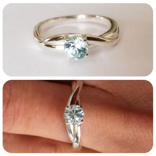Blue Zircon ring with softly braided band