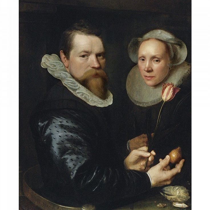 1609 - Mierevelt, Michiel Jansz. van - Double portret of husband and wife. He holding a tulip and bulb, a selection of shells on gthe shelf below - signed lower left (partly strengthened): M.J. Miere...lt and inscribed and dated upper left: AE...tis 3(9?)/1609 ( AE in compendium) oil on panel 32 1/2 by 25 5/8 in.; 82.5 by 65 cm.
