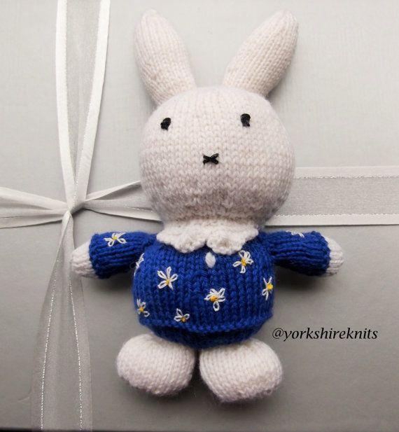 Hand Knitted Miffy Rabbit stuffed toy Baby by HandKnittedYorkshire