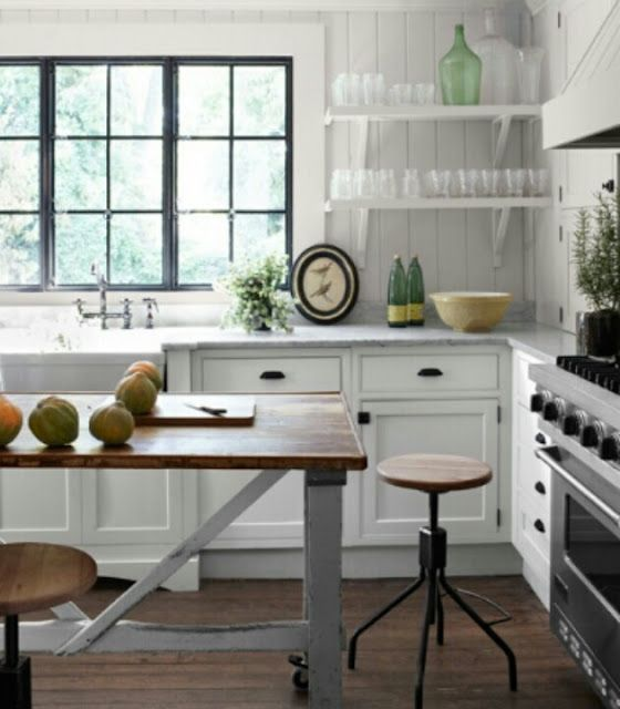 What a great combo of #white, #industrial #kitchen .... LOVE !