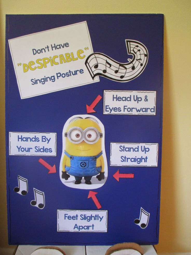 "Music Bulletin Board.  Don't have ""Despicable"" Posture!"