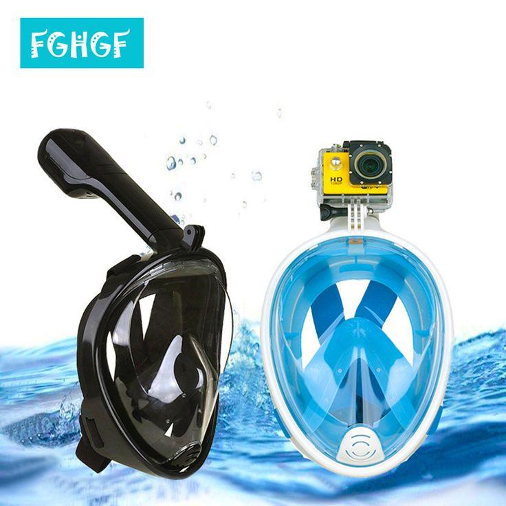 2017 New Full Face  Anti-fog Snorkeling Diving Mask Anti-skid Ring Snorkel Scuba GoPro Camera Snorkel Masks Underwater