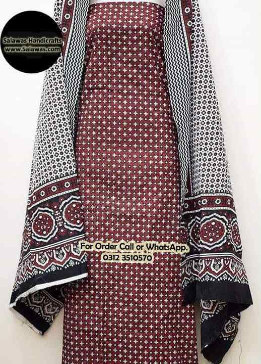 a984324e5e Find New Sindhi Ajrak Dress Designs of 2019, Online Shopping Available in  Pakistan, Ajrak Style Sindhi Dress Designs, #AjrakDress #AjrakDesigns