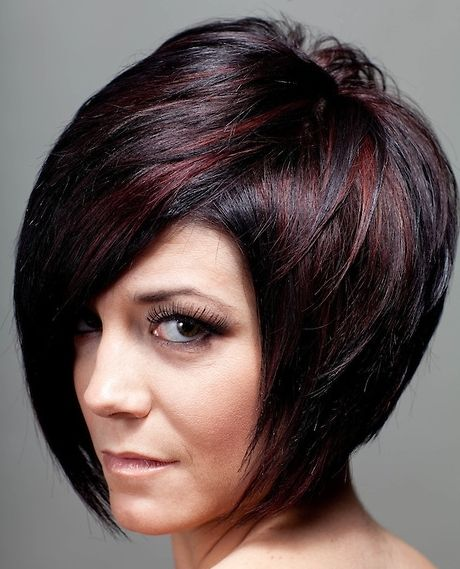 short hair styles for women with red highlights | short hairstyles for women, brown highlights on black short hair ...
