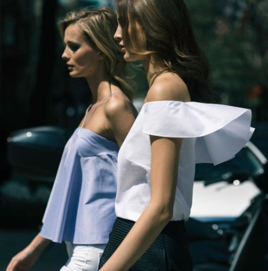 Off shoulder style: white and light blue