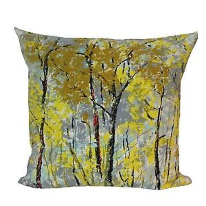 "Cushion Cover Handmade From Vintage 1950s David Whitehead Barkcloth Stylised Trees Fabric 20"" x 20"" New"