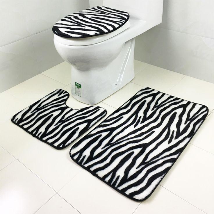 3pcs/set  Flannel Zebra pattern Non-slip Bathroom mat Sets Bath rug Contour Mats Toilet Lid Cover Home Bathroom decor