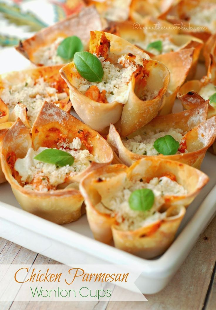 Chicken Parmesan Wonton Cups @Wendy Werley-Williams.thesweetchick.com
