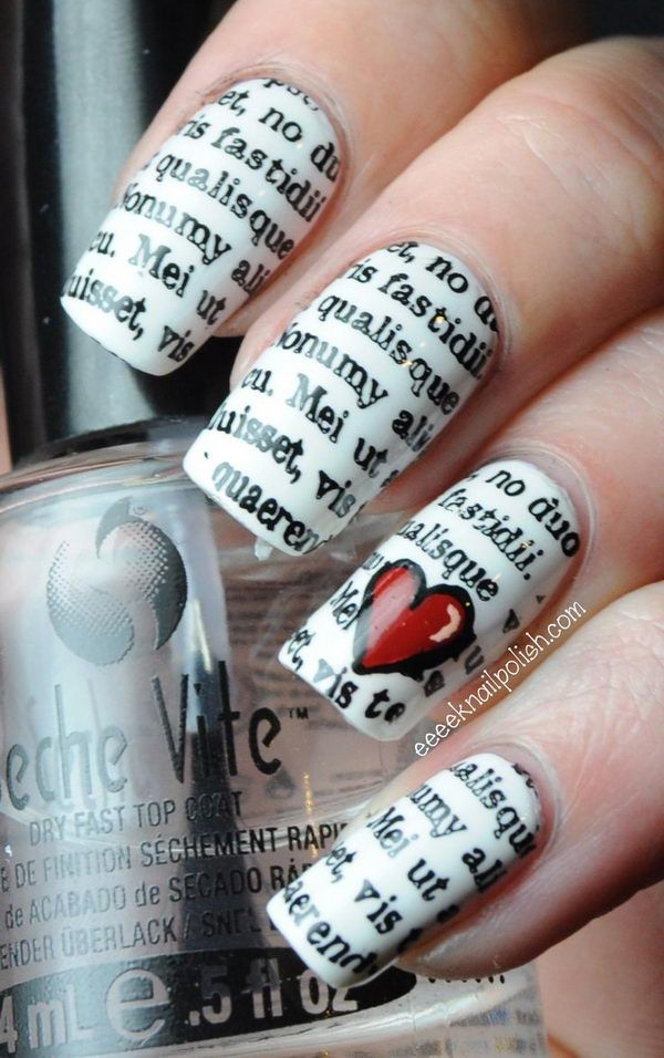 Periódico Idea de uñas.  http://hative.com/cool-newspaper-nail-art-ideas/